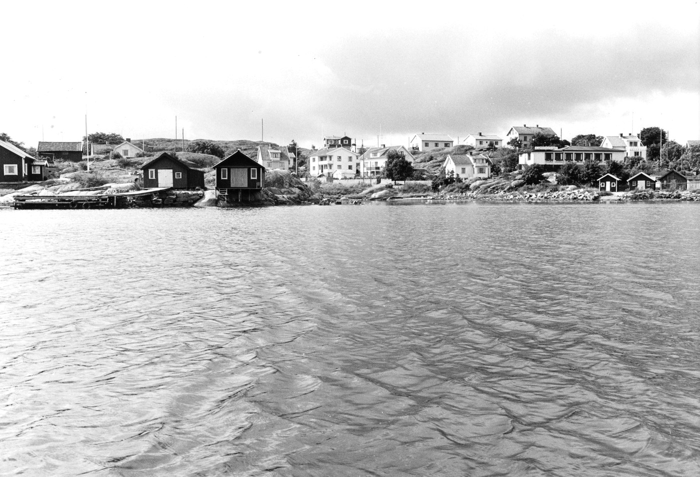 Foto Claes Funck 1970. Från sjön mot viken vid nuvarande golfbana.