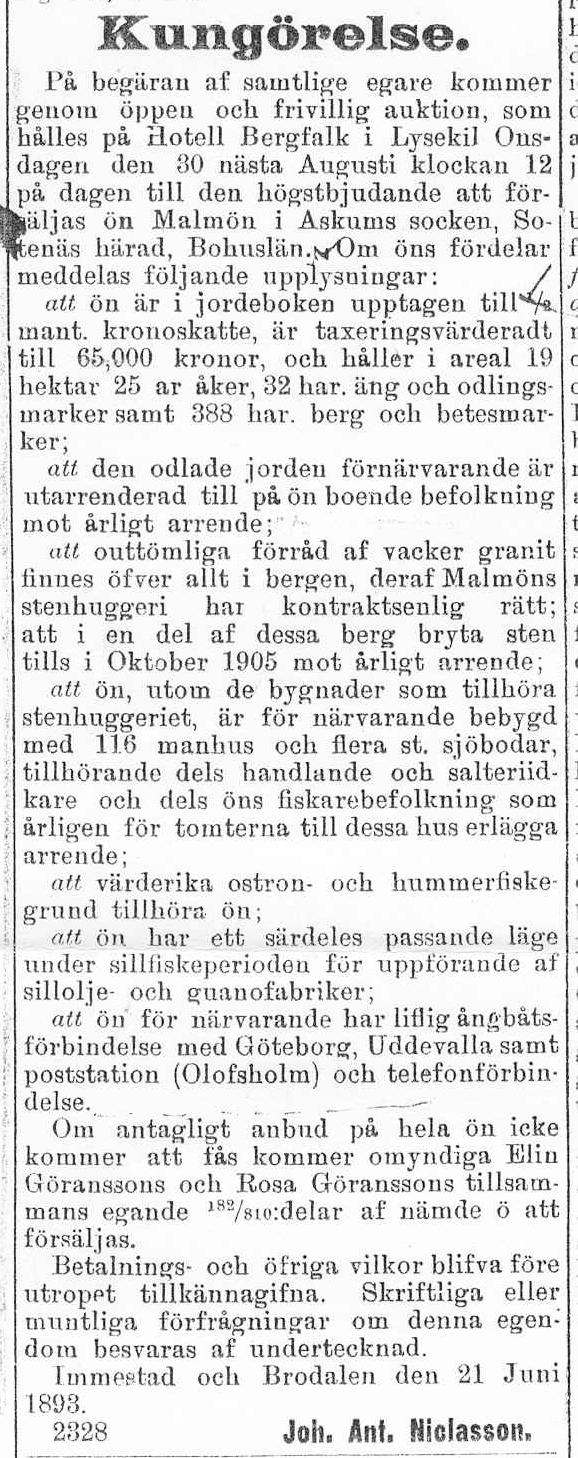 17 Kungörelse angående försäljning av Bohus Malmön