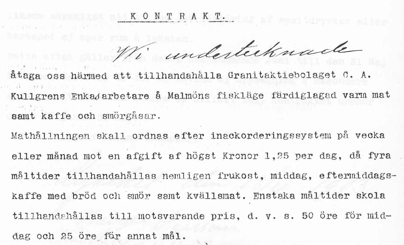 21 Kontrakt angående Matservering i Fiskeläget